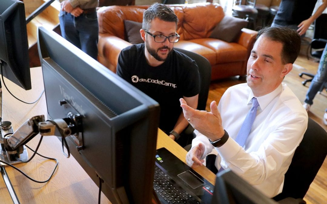 Former Gov. Scott Walker supports coding school where a student can pay nothing until landing a job